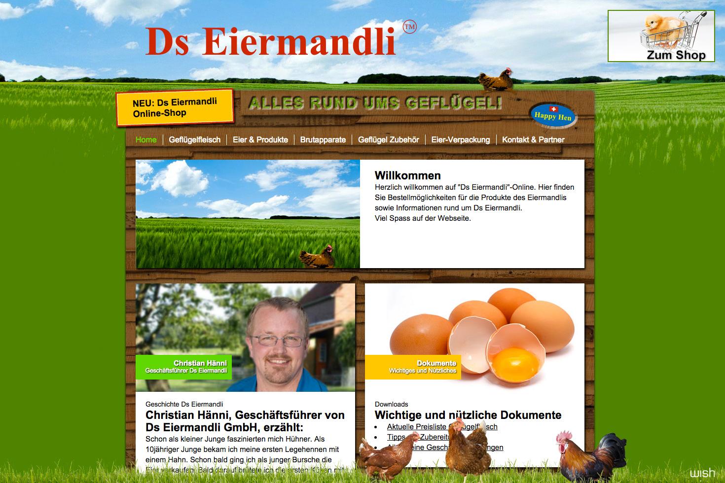 Bild 1 vom Ds Eiermandli Webseite / Shop
